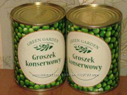 Вкусный зеленый горошек из Польши 400ml