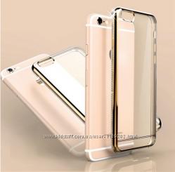Силиконовый золотой чехол с камнями Сваровски для Iphone 5 5S 6 6S 6 PLUS