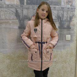 Стильная деми куртка-парка утеплённая