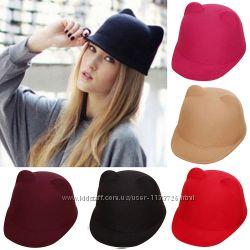 Шапка, кепка, жокейка, котелок с ушками, 2 цвета, размер регулируется