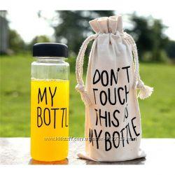 Бутылка спортивная для воды, 15 видов, пластик и алюминий с карабином