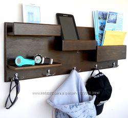 Деревянная полочка-органайзер. Вешалка для вещей. Полка для телефона и ключей