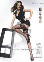 Жіночі мереживні чулки Bas Bleu Kama 20den, білий, чорний, натурал