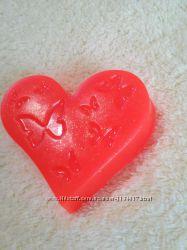 Мыло ручной работы Сердце с бабочками