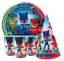 праздничная посуда для детского дня рождения Герои в масках PJ Masks