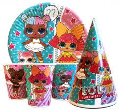 праздничная посуда для детского дня рождения куклы Лол LOL