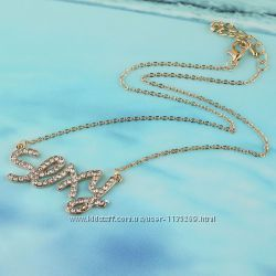 Модная подвеска SEXY с цирконами на цепочке, покр. золото 14К Gold Filled