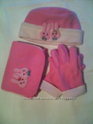 Комплект шапка шарф и перчатки для девочки