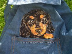 Рюкзак, сумка -кот, собачка в кармашке, кармане  джинсовый.
