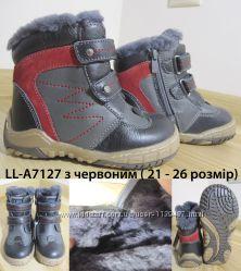 Ботинки зимние кожаные Lilin LL-A7127 ч-к на натуральном меху, р. 21-26