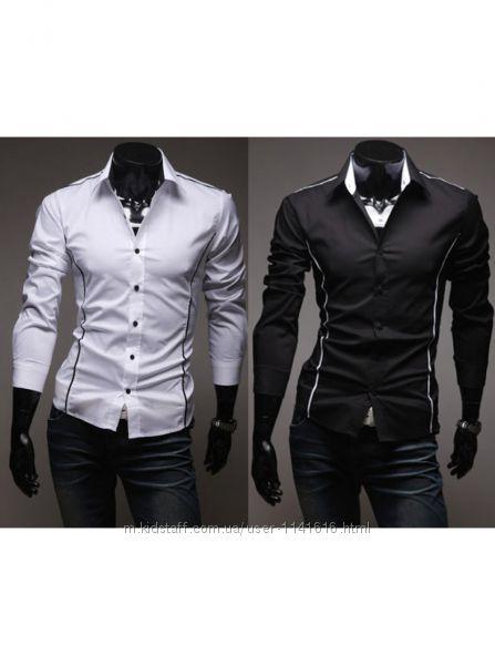 Стильная мужская рубашка приталенная