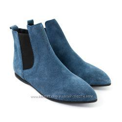 Замшевые синие ботинки р. 37