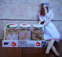 Кукла Тильда повариха и банки для специй на заказ