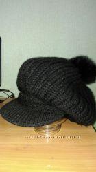 Отличная зимняя шапка, берет, очень теплая, крупная вязка
