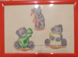 Рисую пастелью картины мультяшных зверушек для детских комнат