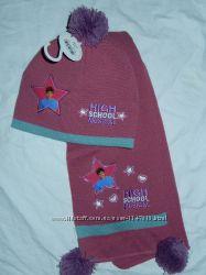 Новый демисезонный набор 5-10 лет, шапка шарф, Disney оригинал