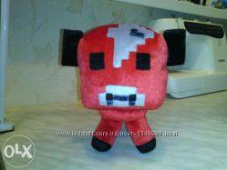 Большая игрушка телёнок грибной коровы из игры minecraft 20см