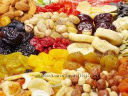 Сухофрукты, орехи, цукаты, сушка компотная, бобовые и др.