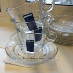 Фирменный чайно-кофейный прозрачный набор сервиз Lavazza 612салфетки пода