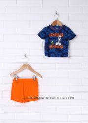 Костюм для мальчика футболкашорты сине-оранжевый