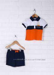 Костюм для мальчика футболка-полошорты сине-бело-оранжевый