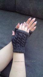 Митенки, варежки перчатки без пальцев, ручная работа
