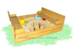 Песочница из доски блок-хауз с крышкой