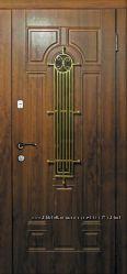 Дверь входная металлическая со стеклом и ковкой Лучия серии Премиум