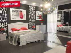 Спальня Инесса белый супермат с патиной - кровать, тумбы, комод, шкаф-купе