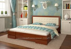 Кровать деревянная с мягким изголовьем Регина, В наличии