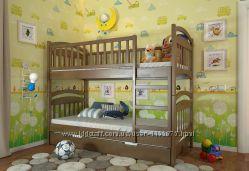 Кровать детская двухъярусная Смайл деревянная Разные цвета