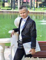 Пиджак велюровый черный на мальчика от 7 до 16 лет