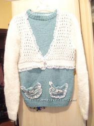 Красивый новый теплый полушерстяной свитерок ручной работы, рост 134-140 см
