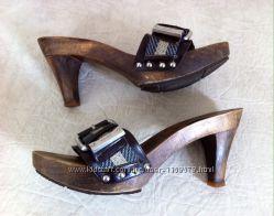 Брендовые деревянные стукалки Bally, оригинал. Верх из кожи и текстиля.