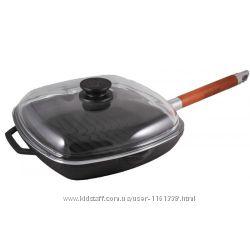 Сковорода-гриль чугунная 26 см со стеклянной крышкой ТМ БИОЛ -артикул 1026С
