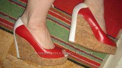 туфли красно белые кожа 37р
