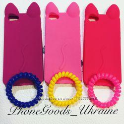 Яркие силиконовые чехлы котики для IPhone 5, 5S
