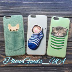Силиконовый чехол на IPhone6, 6S с собачкой, с котиком