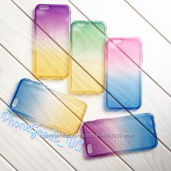 Красивый силиконовый чехол на IPhone6, 6S градиент двухцветный