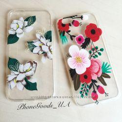 Силиконовые чехлы с цветами на iPhone6, 6S