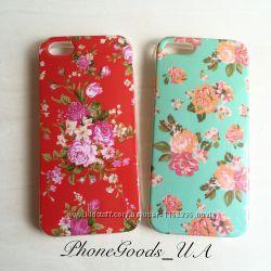 Силиконовый чехол с цветами на Iphone5, 5S
