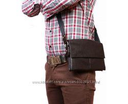 Стильная мужская кожаная сумка через плечо деловая. Два цвета