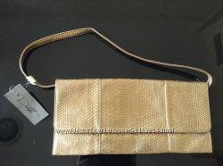 Новая сумка клатч золотого и бронзово-золотого цвета под кожу рептилии