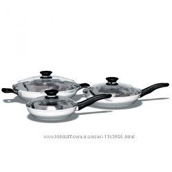 Акция iCook Набор из трех сковородок с крышками и антипригарным покрытием