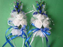 Свадебные бутоньерки в синем цвете