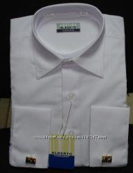 Рубашка белая с запонками для подростка 34,36 ворот