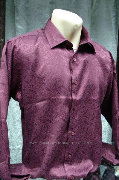 Рубашка бордовая с рисунком мужская приталеная
