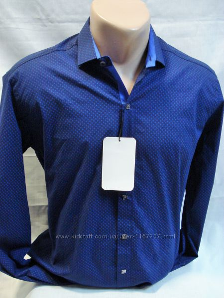Рубашка Antoni Rossi синяя с мелким рисунком M, L,