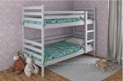 Кровать двухъярусная детская из натурального дерева.