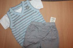 Комплект шорты и футболка -жилетка george 6-9 месяцев.